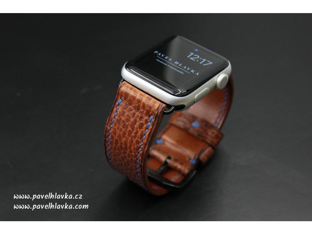 Ručně šitý kožený řemínek pásek na hodinky apple watch z přírodní kůže dollaro konak