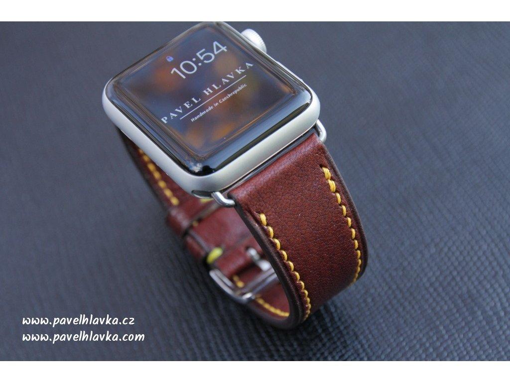 Kožený řemínek na hodinky apple watch z kůže kozinka hnědá
