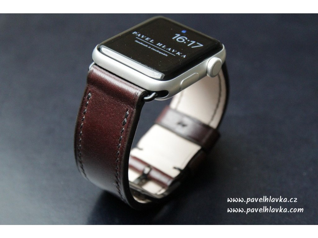 Ručně šitý kožený řemínek pásek pro hodinky apple watch LUX hořká čokoláda