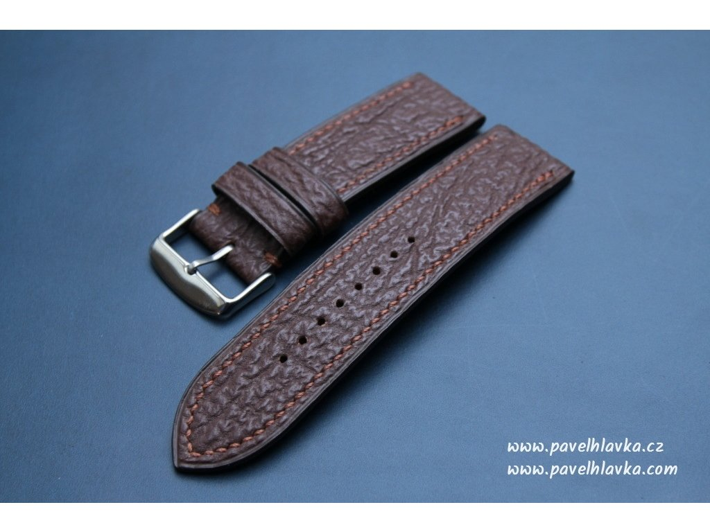 Kožený řemínek pro hodinky apple watch ze žraločí kůže hnědý