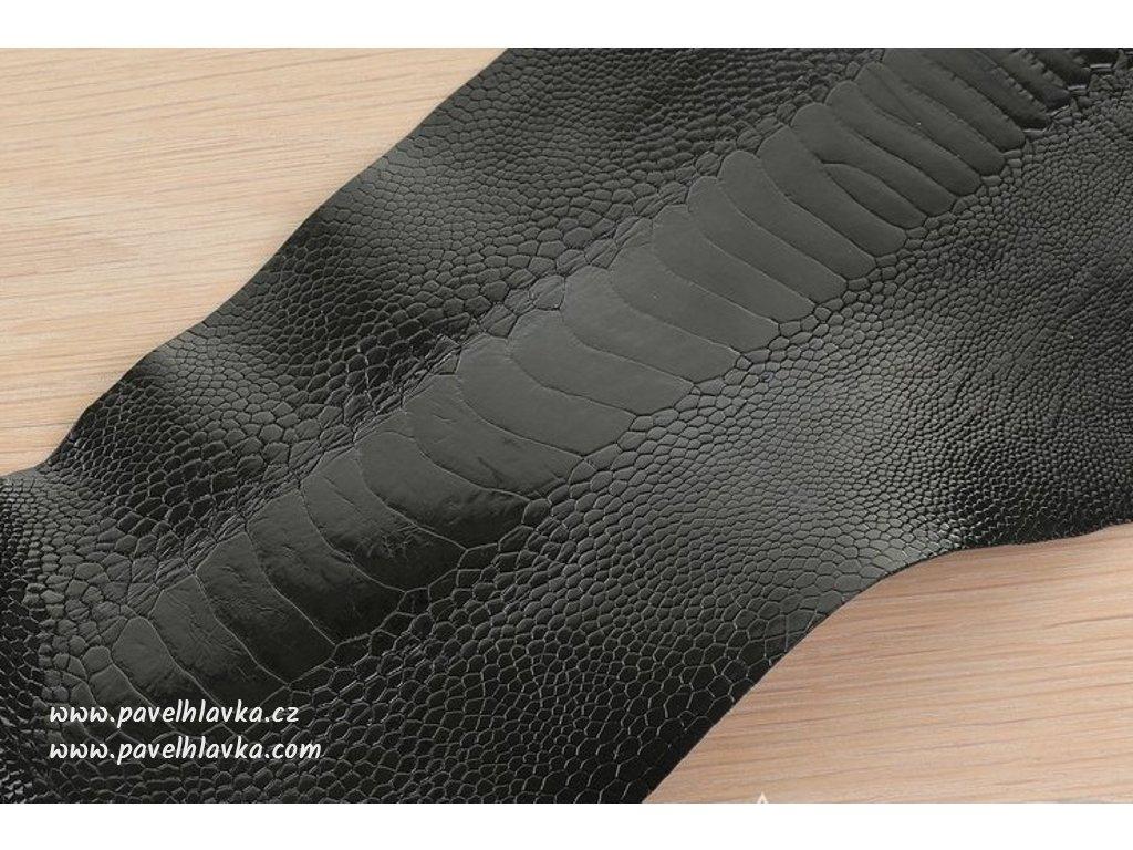 Ručně šitý kožený řemínek pro hodinky apple watch z pštrosí kůže černý
