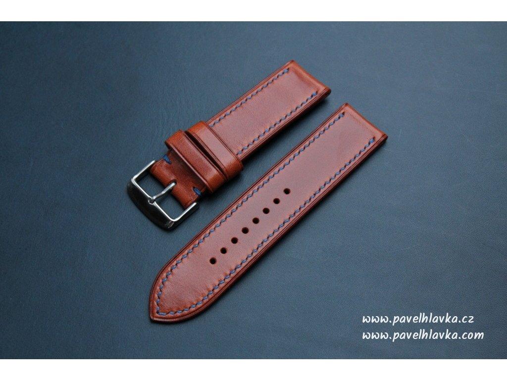 Kožený řemínek Apple Watch prošívaný - Antik Bourbon