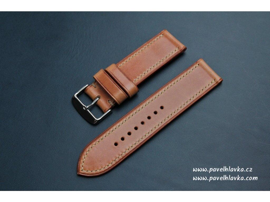 Ručně šitý kožený řemínek pásek pro hodinky apple watch antik karamel