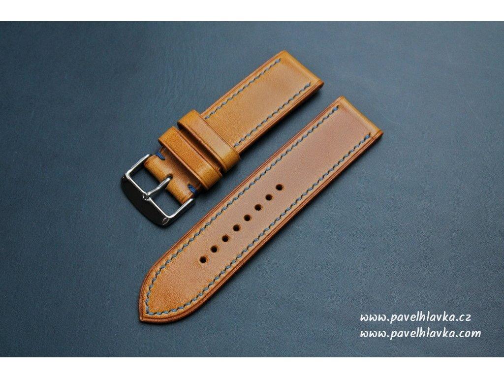 Ručně šitý kožený řemínek pásek pro hodinky apple watch antik okr