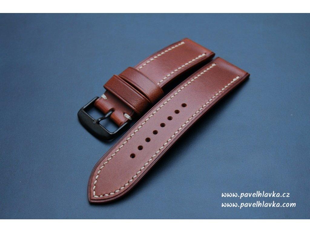 Ručně šitý kožený řemínek pásek pro klasické hodinky Walpi