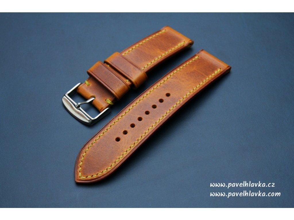Ručně šitý kožený řemínek pásek pro klasické hodinky Wax