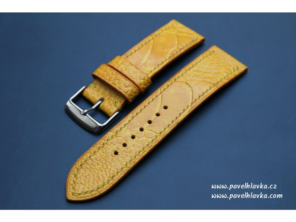 Kožený řemínek Apple Watch prošívaný z Pštrosí kůže (noha) - žlutý