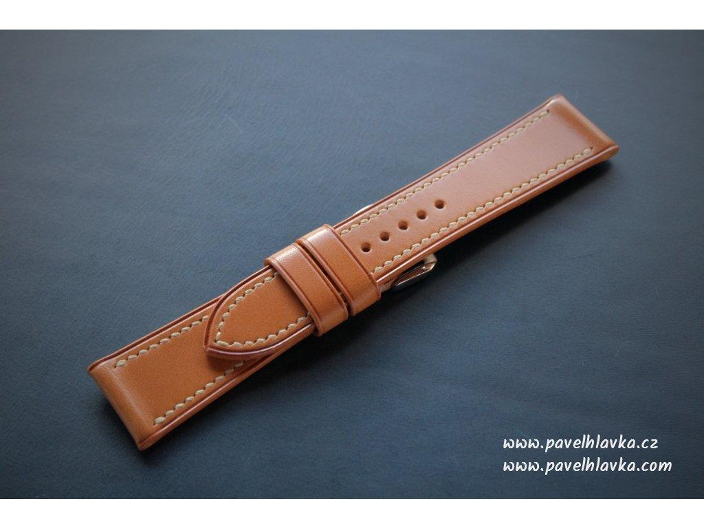 Kožený řemínek Apple Watch prošívaný - Walpi Biscuit