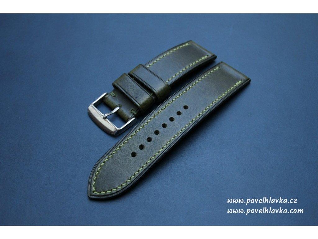 Kožený řemínek Apple Watch prošívaný - Wax Zelený