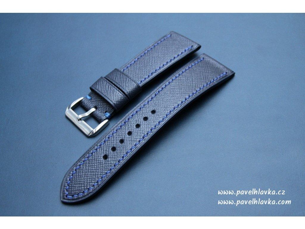 Ručně šitý kožený řemínek - pásek pro hodinky Apple Watch - ruční výroba Saffiano Navy