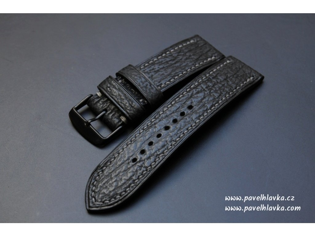 Ručně šitý kožený řemínek pásek pro klasické hodinky žraločí kůže