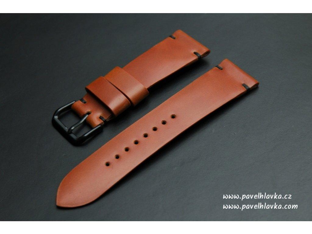 Ručně šitý kožený řemínek pásek pro klasické hodinky shell cordovan