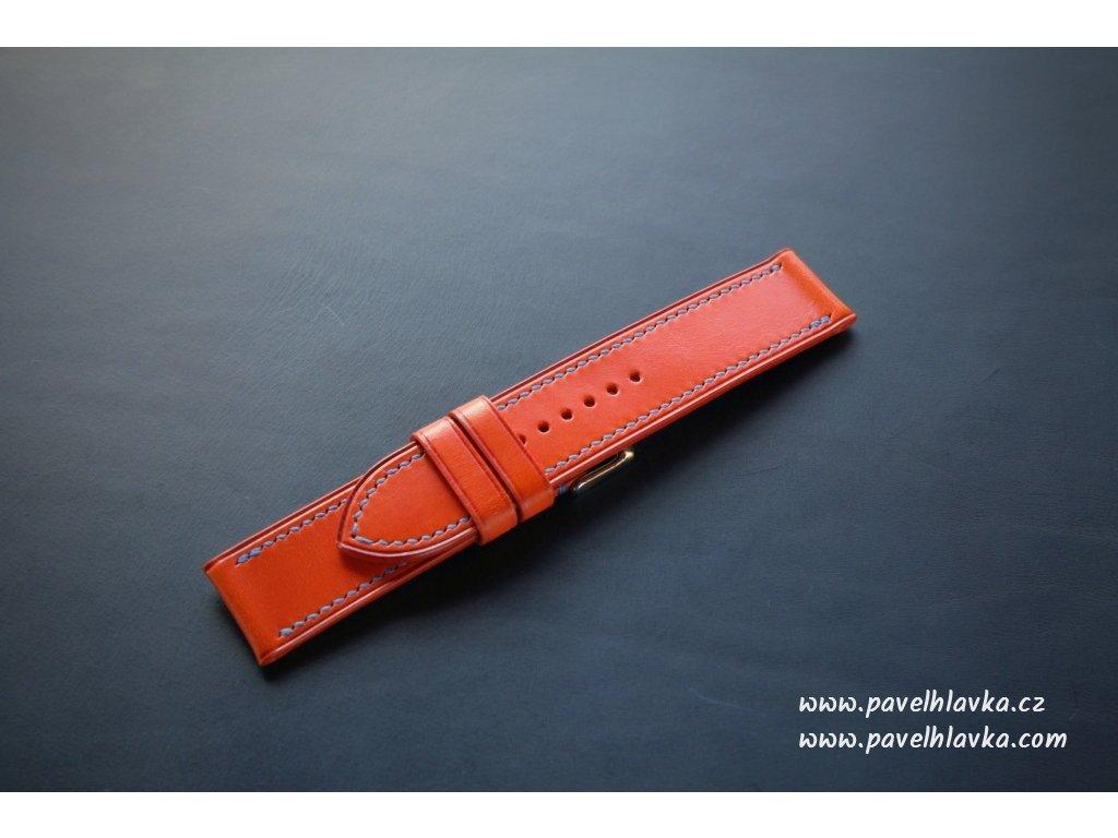 Kožený řemínek Apple Watch prošívaný - Walpi Oranžový