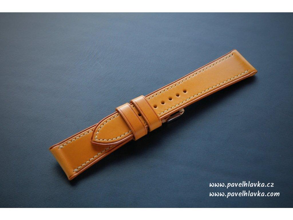 Kožený řemínek Apple Watch prošívaný - Walpi Žlutý