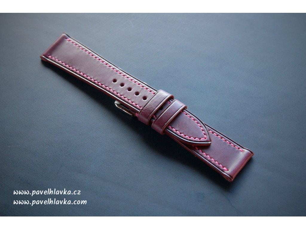Kožený řemínek Apple Watch prošívaný - Walpi Fialový
