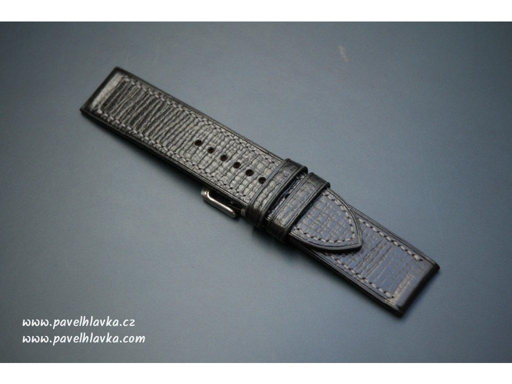 Kožený řemínek Apple Watch prošívaný - Palmellato Černý