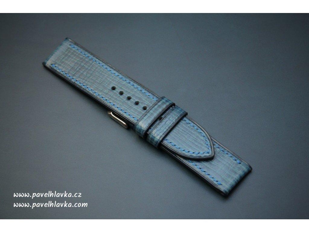 Kožený řemínek Apple Watch prošívaný - Palmellato Modrý