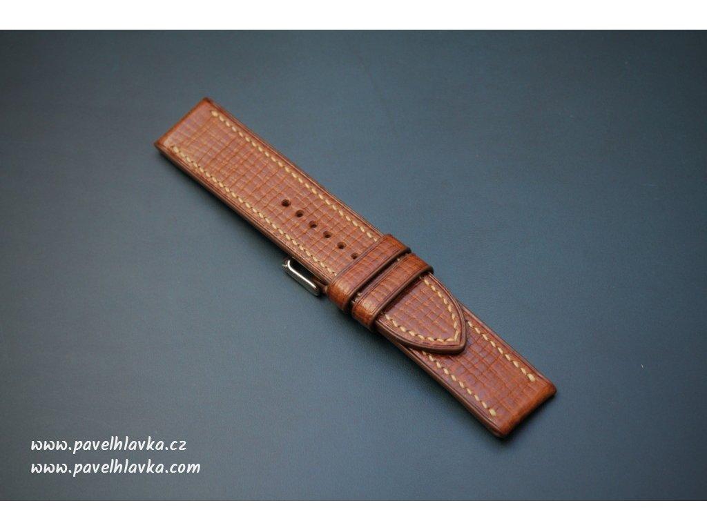 Kožený řemínek Apple Watch prošívaný - Palmellato Hnědý