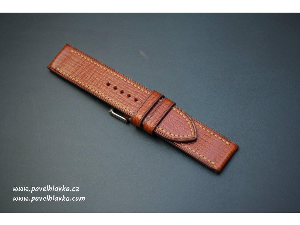 Kožený řemínek Apple Watch prošívaný - Palmellato Koňak