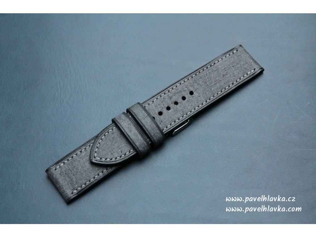 Kožený řemínek Apple Watch prošívaný - Denim Černý