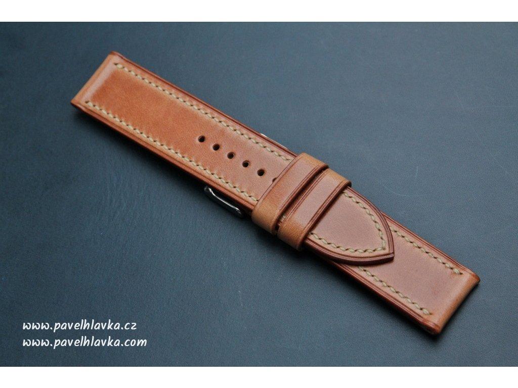 Kožený řemínek Apple Watch prošívaný - Antik Karamel