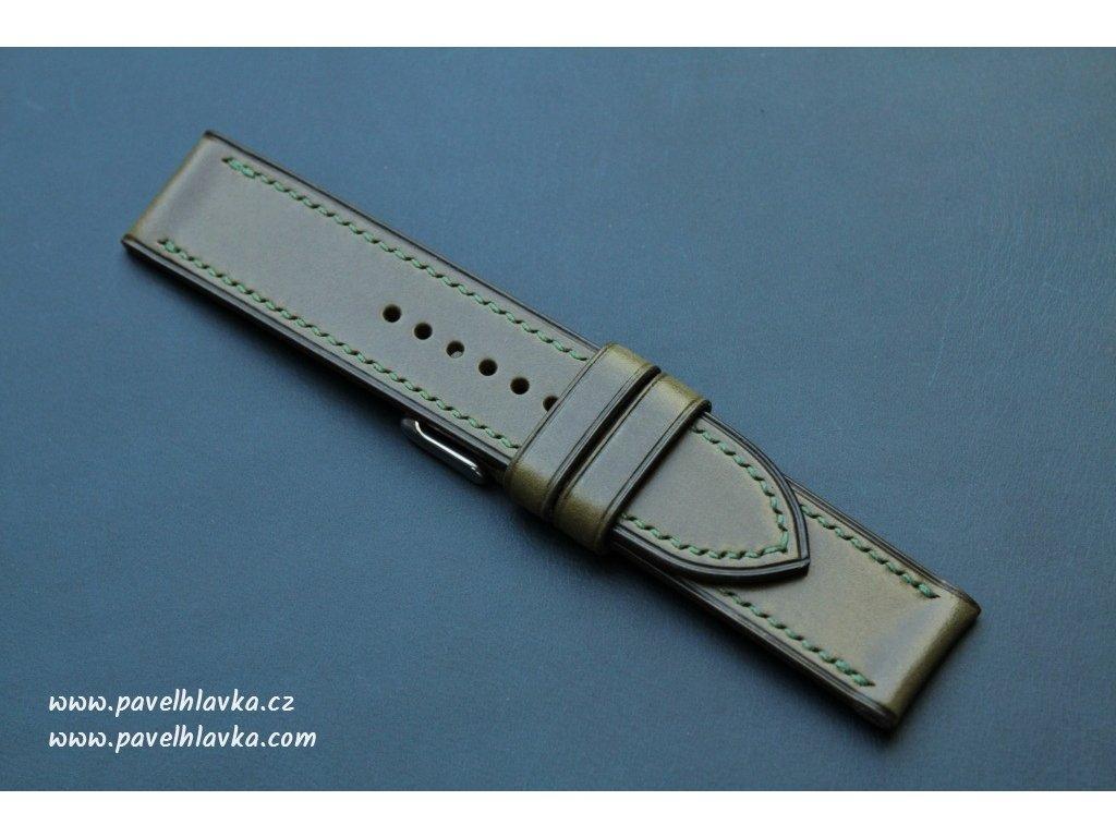 Kožený řemínek Apple Watch prošívaný - Walpi Olivový