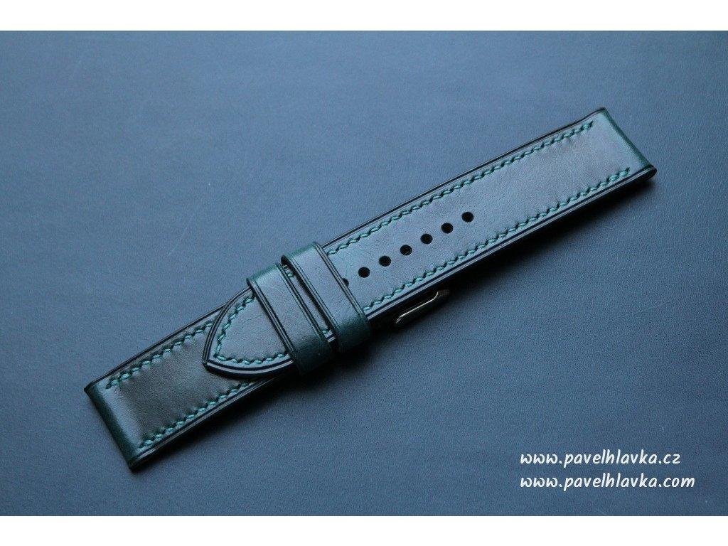 Kožený řemínek Apple Watch prošívaný - Wax Modrý