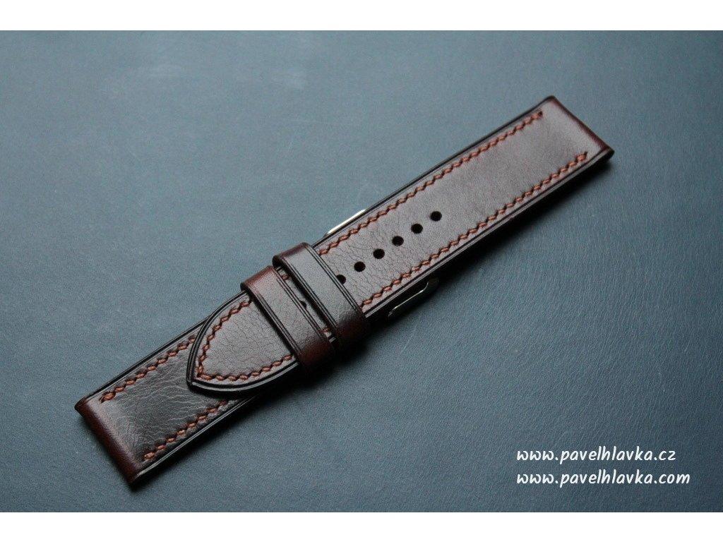 Kožený řemínek Apple Watch prošívaný - Wax Tabacco