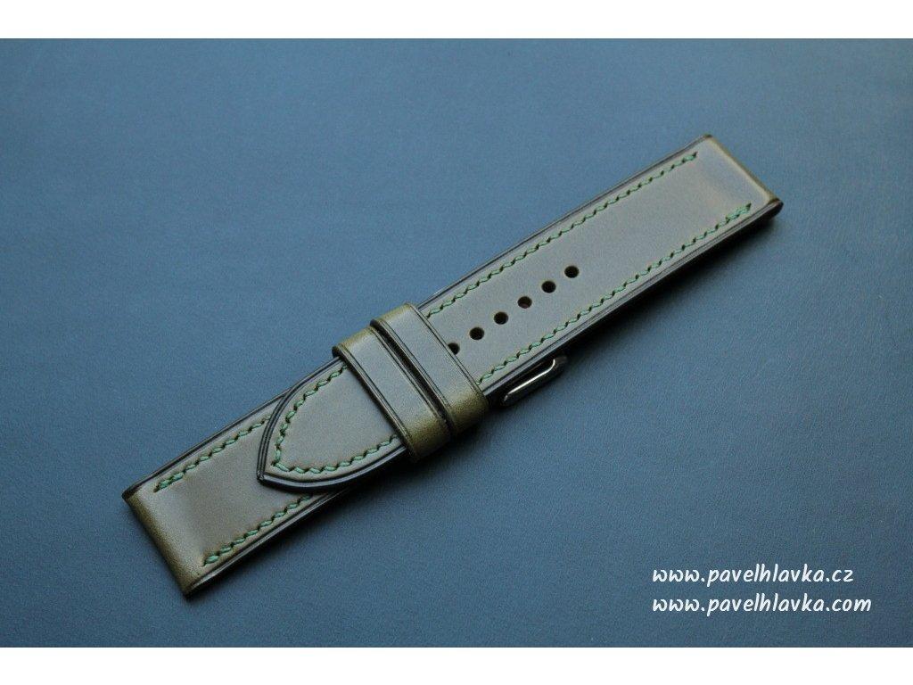 Ručně šitý kožený řemínek pásek pro hodinky apple watch walpi olivový