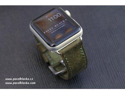 Ručně šitý kožený řemínek pásek apple watch ruční práce na zakázku Pueblo zelený