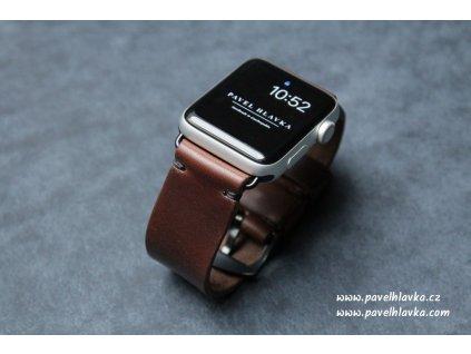 Ručně šitý kožený řemínek pásek apple watch ruční práce Horween chromexcel tmavě hnědý