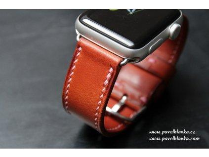 Ručně šitý kožený řemínek pásek apple watch ruční práce TAN