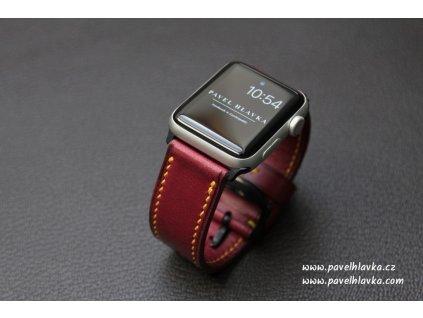 Ručně šitý kožený řemínek pásek apple watch ruční práce bordo