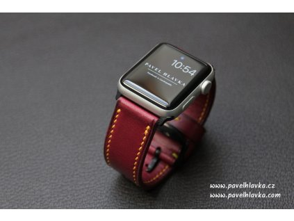 Ručně šitý kožený řemínek pásek apple watch ruční práce Temp Bordo