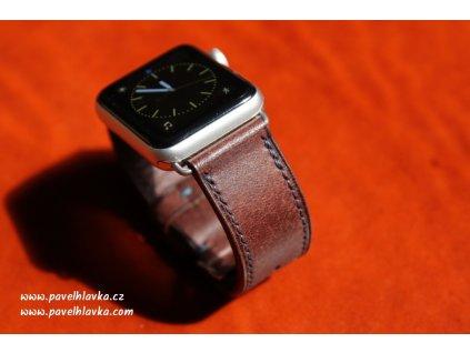Ručně šitý kožený řemínek pásek apple watch ruční práce na zakázku patina hnědý