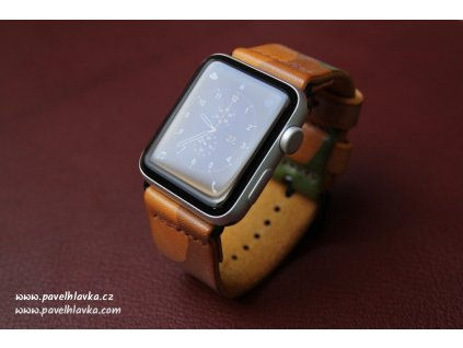 ručně šitý kožený řemínek pro hodinky appple watch z maskáčové kůže