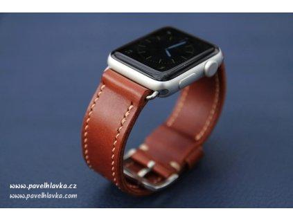 Ručně šitý kožený řemínek pásek pro hodinky apple watch walpi hnědý