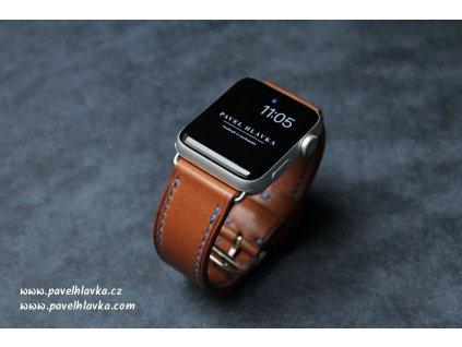 kožený řemínek na hodinky apple watch z přírodní kůže hnědý hermes barenia