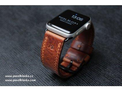 Kožený řemínek na hodinky apple watch z přírodní pull-up kůže koňak