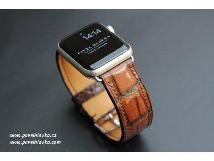 Ručně šitý kožený řemínek pásek apple watch ruční práce krokodýlí kůže vintage hnědý