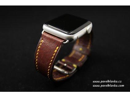 Kožený řemínek Apple Watch prošívaný - Chevre Hnědý
