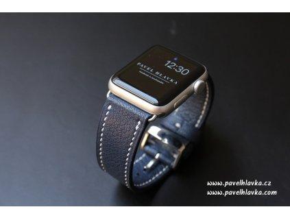 Ručně šitý kožený řemínek - pásek pro hodinky Apple Watch - ruční výroba Chevre modrý