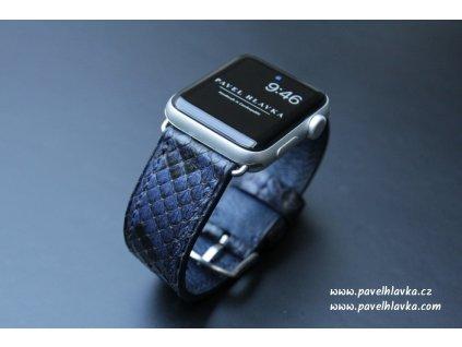 Kožený řemínek pro hodinky apple watch z hadí kůže modrý