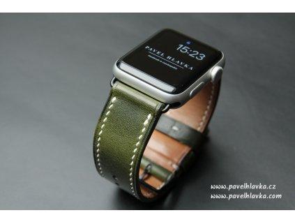 Ručně šitý kožený řemínek pásek pro hodinky apple watch WAX zelený