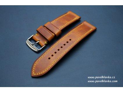 Ručně šitý kožený řemínek pásek pro hodinky apple watch WAX světle hnědý TAN