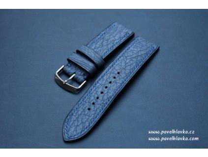 Kožený řemínek pro hodinky apple watch ze žraločí kůže modrý