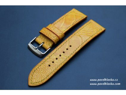 Ručně šitý kožený řemínek pro hodinky apple watch z pštrosí kůže žlutý