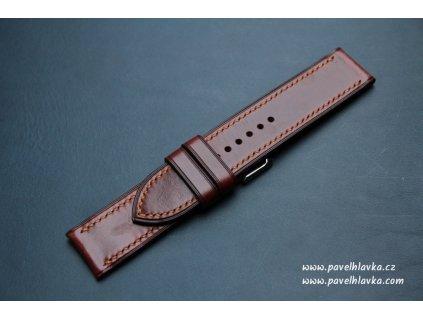 Ručně šitý kožený řemínek pásek pro hodinky apple watch antik koňak