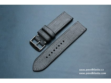 Ručně šitý kožený řemínek pásek pro hodinky apple watch denim černý