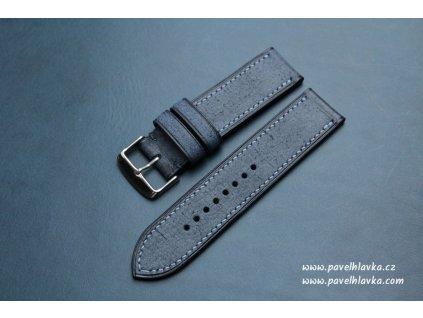 Ručně šitý kožený řemínek pásek pro hodinky apple watch denim navy